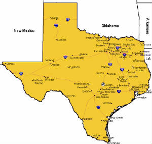 Map of places to retire in Texas